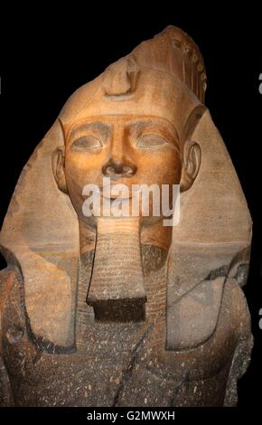 Granite statue of Ramesses II, Thebes, Egypt - 19th dynasty, about 1250 BC. Ramesses II succeeded his father Sethos - Stock Photo