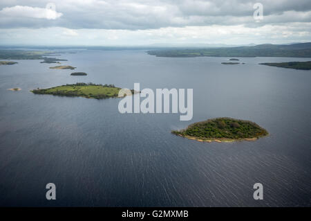 Aerial view, islands in Lake Derg, Lough Derg on the River Shannon, COUNTY CLARE, Clare, Ireland, Europe, Aerial - Stock Photo