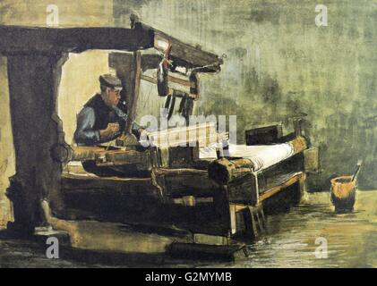 Painting by the famous Dutch artist Vincent Van Gogh (30th March 1853 - 29th July 1890), work titled 'Weaver facing - Stock Photo