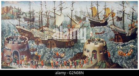 The Embarkation of Henry VIII at Dover, England. By V. Volpe. Dated c1530 - Stock Photo