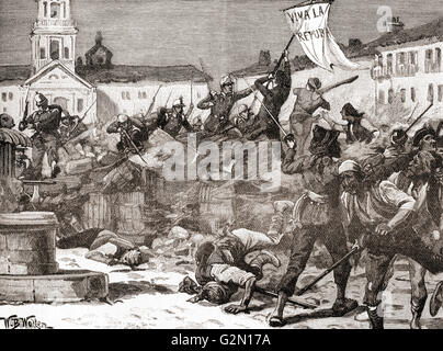 A Republican insurrection in Malaga, Spain during The Glorious Revolution( La Gloriosa, 1868–1873). - Stock Photo