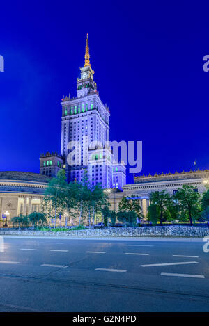 Warsaw Palace of Culture and Science in Warsaw Poland - Stock Photo