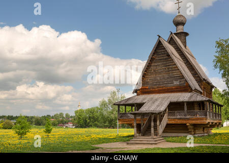 View of wooden Church of St. Nicholas in ancient Suzdal kremlin, Russia. Suzdal is part of famous touristic route - Stock Photo