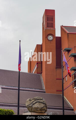 London England - May 19 2016: The clocktower of the British Library in London England. - Stock Photo