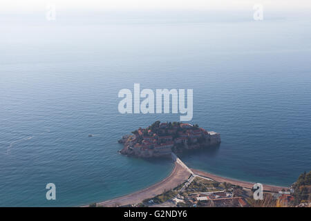 Top view of the Sveti Stefan island - Stock Photo
