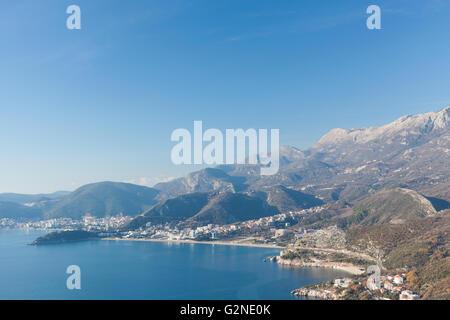 Top view of the seacoast Budva - Stock Photo