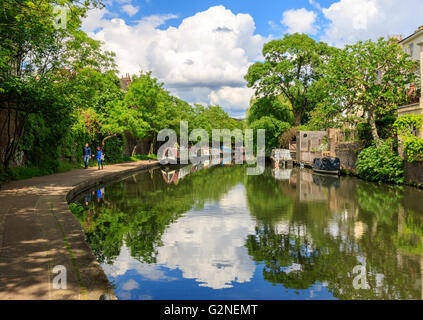 London, UK - May 23, 2017 - People walking on the towpath of Regent's canal - Stock Photo