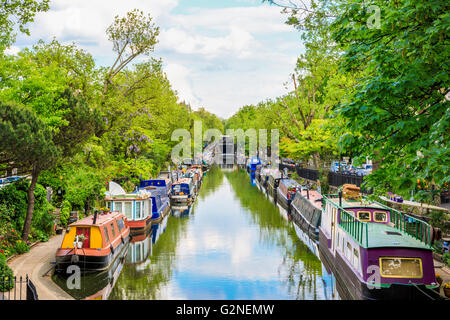 Regent's canal, Little Venice in London, UK - Stock Photo