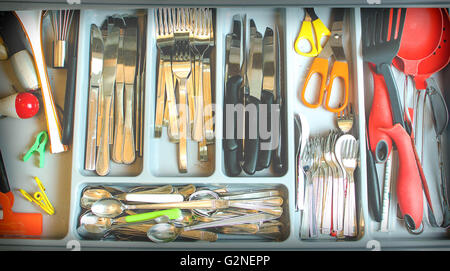 vintage cutlery drawer background - Stock Photo