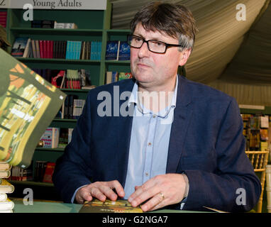 Simon Armitage, poet, Oxford Professor of Poetry, book signing his new work Pearl at Hay Festival Saturday 28th - Stock Photo