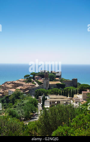 View of the Castello and Borgo Medievale in the seaside town of Castiglione della Pescaia in Tuscany - Stock Photo