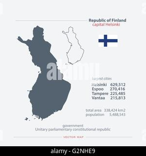 Republic of Finland isolated maps and official flag icon. vector Finnish political map icons with general information. - Stock Photo