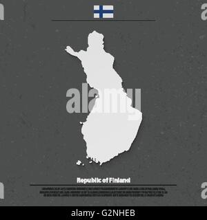 Republic of Finland isolated map and official flag icons. vector Finnish political map 3d illustration. Suomi geographic - Stock Photo