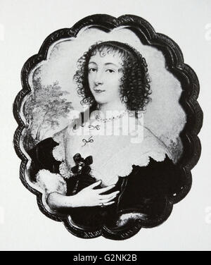 Queen Henrietta Maria of France (1609-1669) by John Hoskins, the Elder (1590-1665) - Stock Photo