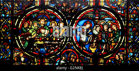 window from the Ambulatory at Bourges Cathedral, France. Shows the Passion of Christ - Stock Photo