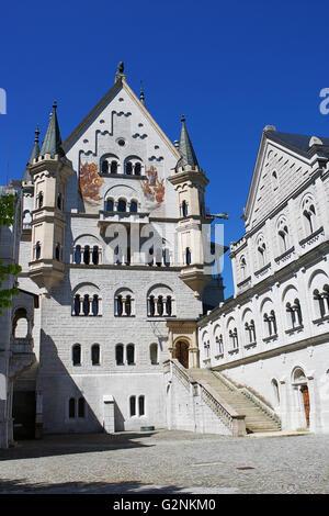 The courtyard in Neuschwanstein Castle. - Stock Photo