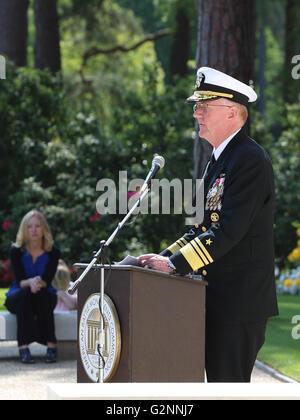 2016 American Memorial Service Brookwood Cemetery UK - Memorial Address by VADM James G. Foggo III Commander US - Stock Photo