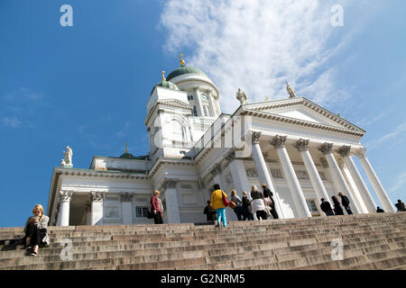 Helsinki Cathedral (aka St Nicholas' Church) from the steps leading to Senate Square - Stock Photo
