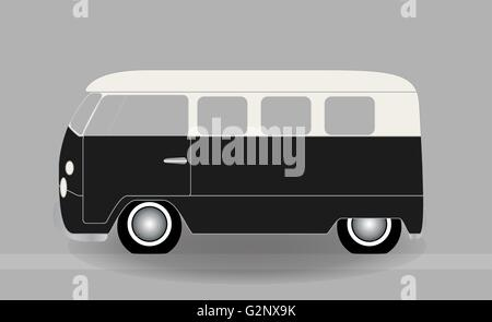 Cartoon cheerful minibus, which travels on the road. Vector Illu - Stock Photo