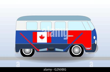 Cartoon minibus with Hockey Stick and Puck. Vector Illustration. - Stock Photo