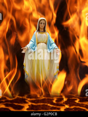 Christ Jesus god Antichrist cross Holly saint  haven Our Lady  Virgin Mary  hell underworld infernal Purgatory light - Stock Photo