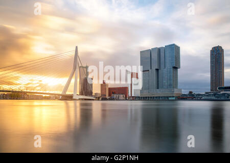 Rotterdam Skyline with Erasmusbrug bridge in morning ,Netherlands - Stock Photo