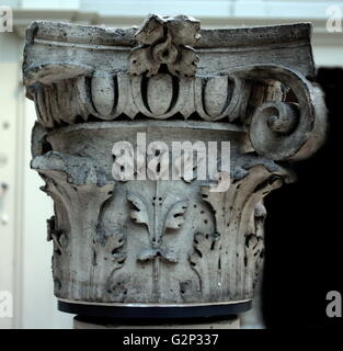 Elegant stone capital, detail from the top of a column. - Stock Photo