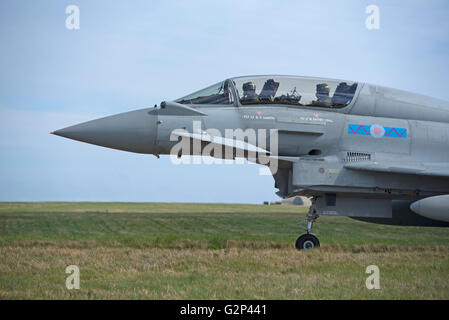 RAF two seater variant Eurofighter FRG4 Typhoon twin engined Jet Military fighter Aircraft.  SCO 11,258. - Stock Photo