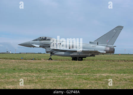 RAF Eurofighter FRG4 Typhoon twin engined Jet Military fighter Aircraft.  SCO 11,257. - Stock Photo