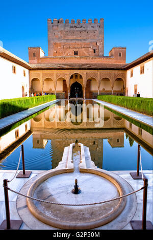 The Court of the Myrtles (the patio de Comares), Alhambra Palace - Stock Photo