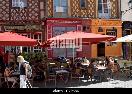 Place Sainte-Anne, Rennes, Brittany, France: creperies cheek by jowl - Stock Photo