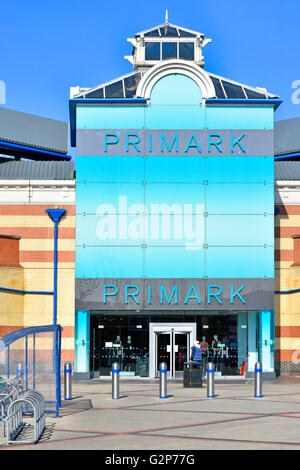 Primark clothing shop entrance at the Intu Lakeside shopping centre Malls at West Thurrock Essex England UK with - Stock Photo