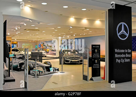 Mercedes-Benz car dealership indoor Pop Up Store in the Lakeside Shopping Centre Mall Thurrock Essex England UK - Stock Photo