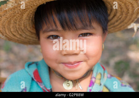 Burmese child playing in fields. Village near Mandalay, Myanmar, Burma, South Asia, Asia - Stock Photo