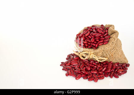 Red beans in canvas sack on white background - Stock Photo