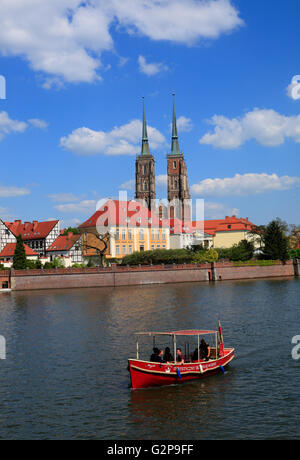 View from Promenade across river Odra to Cathedral island, Wroclaw, Silesia, Poland, Europe - Stock Photo