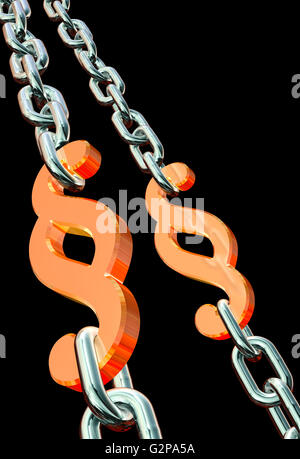 Paragraph symbol, law in chains - Stock Photo