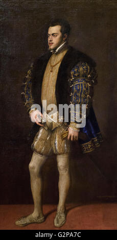 Titian - Tiziano Vecellio (ca. 1488/90-1576), Portrait of Philip II (1527-98), King of Spain (Philip I of Portugal - Stock Photo