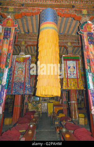 Main assembly hall (dukhang) in Gongkar Choede Monastery. - Stock Photo