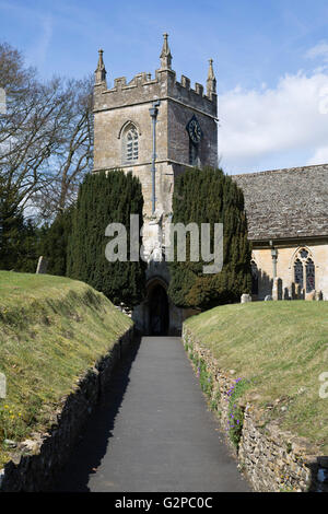 St Peter's church, Upper Slaughter, Cotswolds, Gloucestershire, England, United Kingdom, Europe - Stock Photo
