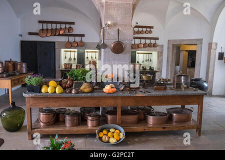 Kitchen area with kitchenware and food display, Pena National Palace interior, SIntra, Lisbon, Portugal - Stock Photo