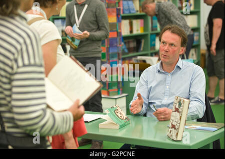 John Lewis-Stempel author book signing in the bookshop at Hay Festival 2016 - Stock Photo