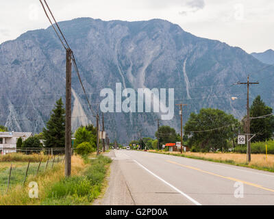 View of K Mountain on Highway 3A approaching Keremeos, in the Okanagan area of BC, Canada. - Stock Photo
