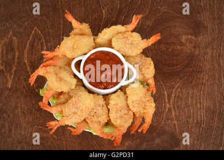 top view butterfly shrimp and sauce - Stock Photo