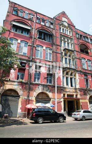 Decayed ancient colonial building, Yangon, Yangon State, Myanmar - Stock Photo