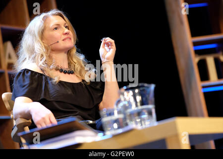 Hay Festival, Wales, UK - June 2016 -  Author Fay Bound Alberti reads from her latest work This Mortal Coil. - Stock Photo