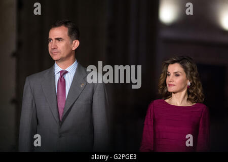 Madrid, Spain. 01st June, 2016. Felipe VI, King of Spain and the Queen Letizia Ortiz during the National Culture - Stock Photo
