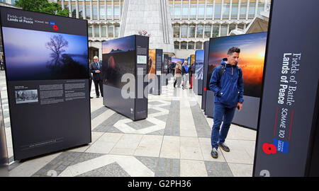 London, UK. 1st June 2016. Launch of the Fields of Battle, Lands of Peace Somme 100 outdoor exhibition by Michael - Stock Photo