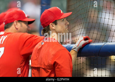 Milwaukee, WI, USA. 31st May, 2016. St. Louis Cardinals center fielder Randal Grichuk #15 prior to the Major League - Stock Photo