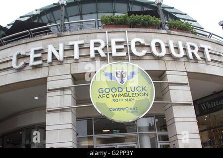 Wimbledon London, UK. 2nd June 2016. A large sign outside Centre Court shopping mall in Wimbledon town centre extending - Stock Photo